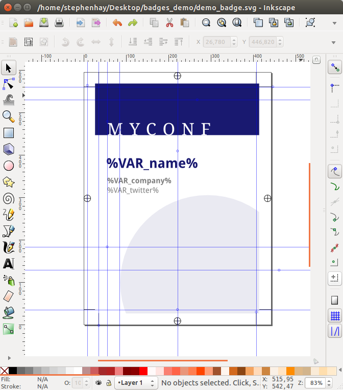 Conference name badge in Inkscape GUI